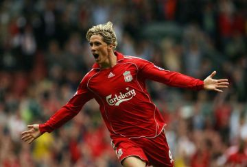 Liverpool's Fernando Torres celebrates scoring against Derby County during their English Premiership football match at Anfield, Liverpool, north-west England, 01 September 2007. AFP PHOTO/PAUL ELLIS Mobile and website use of domestic English football pictures are subject to obtaining a Photographic End User Licence from Football DataCo Ltd Tel : +44 (0) 207 864 9121 or e-mail accreditations@football-dataco.com - applies to Premier and Football League matches (Photo credit should read PAUL ELLIS/AFP/Getty Images)